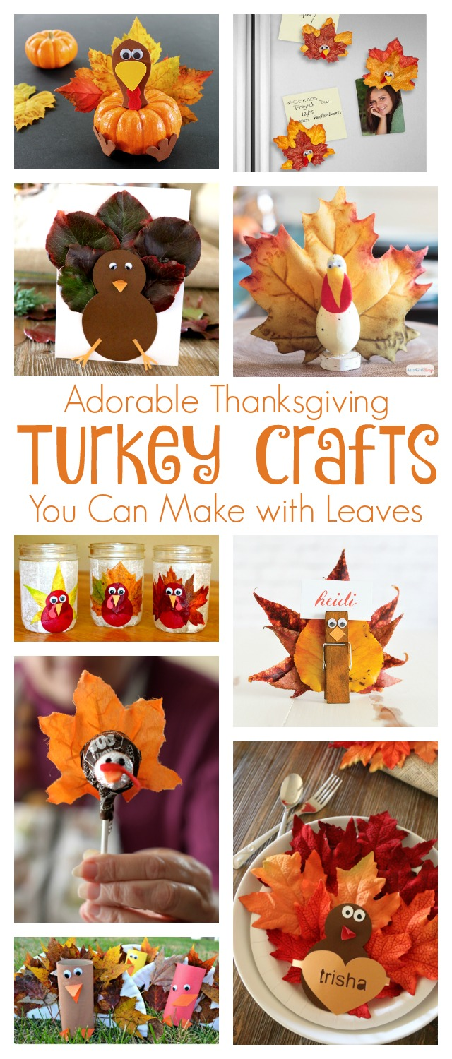 collage showing 9 different kids Thanksgiving turkey crafts made with leaves
