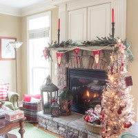 Cozy Fireplace Mantel with Rustic Christmas Decor