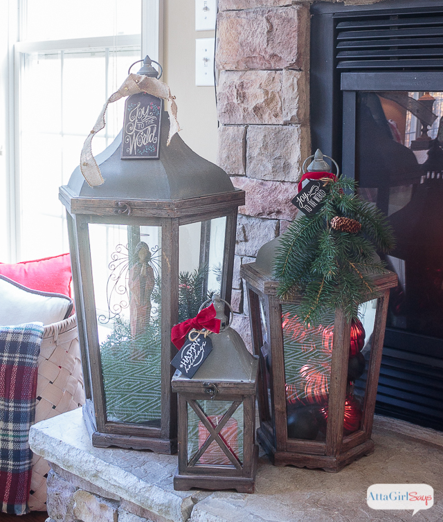 Sarah Check Hearth Cabinet: Cozy Fireplace Mantel With Rustic Christmas Decor