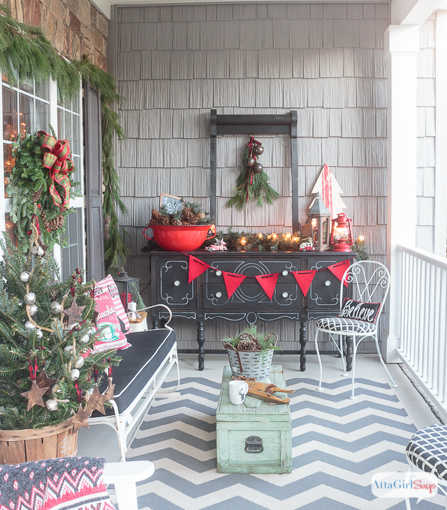 join me for virtual tours of eight bloggers stunning porches decorated for the holidays you - Vintage Farmhouse Christmas Decor