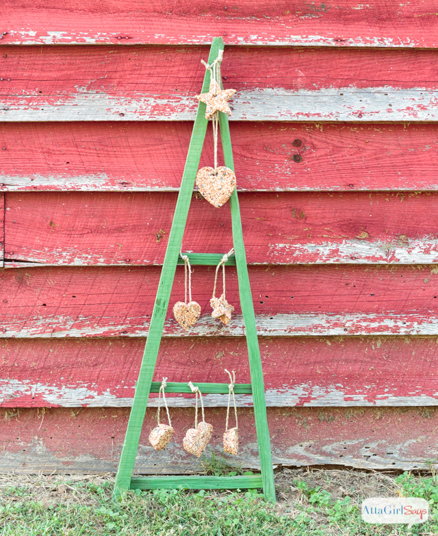 Rustic Tobacco Stick Christmas Tree Bird Feeder