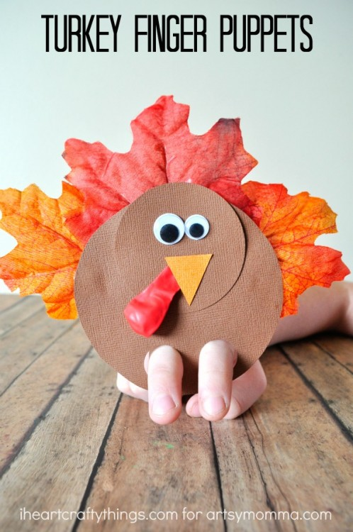 This finger puppet is just one of the adorable Thanksgiving turkey crafts you can make with leaves. Click to find links and instructions for them all.