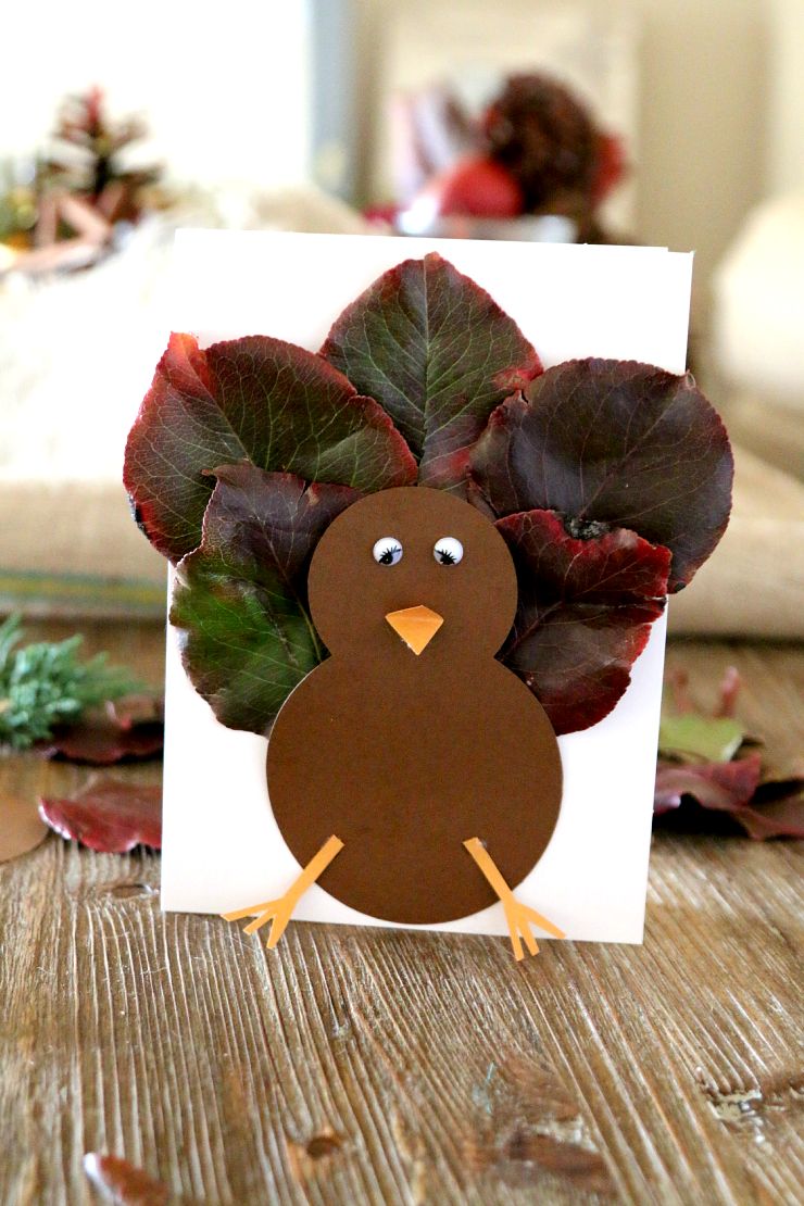 This card is just one of the adorable Thanksgiving turkey crafts you can make with leaves. Click to find links and instructions for them all.