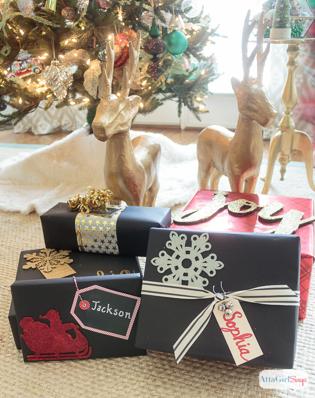 You don't need expensive paper or fancy ribbon to wrap beautiful gifts. Check out these inexpensive Christmas gift wrapping ideas, including tips for dressing up plain wrapping paper, a tutorial to make make glittery package toppers and a technique for making gift bags out of any kind of paper you have on hand. #ad #decoartprojects