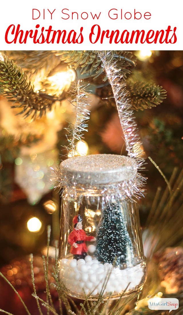 Use recycled glass jars and miniatures to make these adorable DIY Christmas snow globes for your tree. These cute ornaments cost just a few dollars to make.
