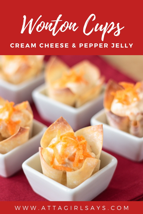 wonton cups filled with a pepper jelly cream cheese mixture