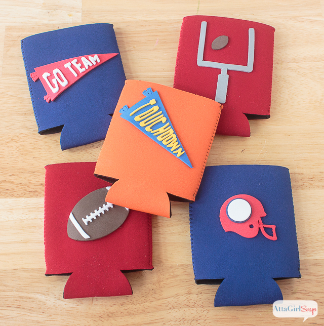 Did you know you can make your own custom can koozies using a Cricut Explore Air and craft foam? These DIY koozies can be easily personalized for your favorite team or players. They'd also be great for a wedding! #ad #CricutMade