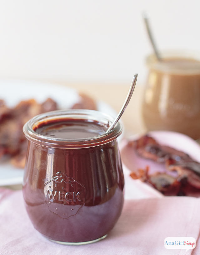 Part appetizer, part dessert and totally delicious, this caramel chocolate bacon is a decadent Valentine's Day treat. The homemade chocolate and caramel sauces are delicious on their own. But wait until you try some thick applewood smoked bacon dipped in these sauces. Flavor explosion. Mind blown!