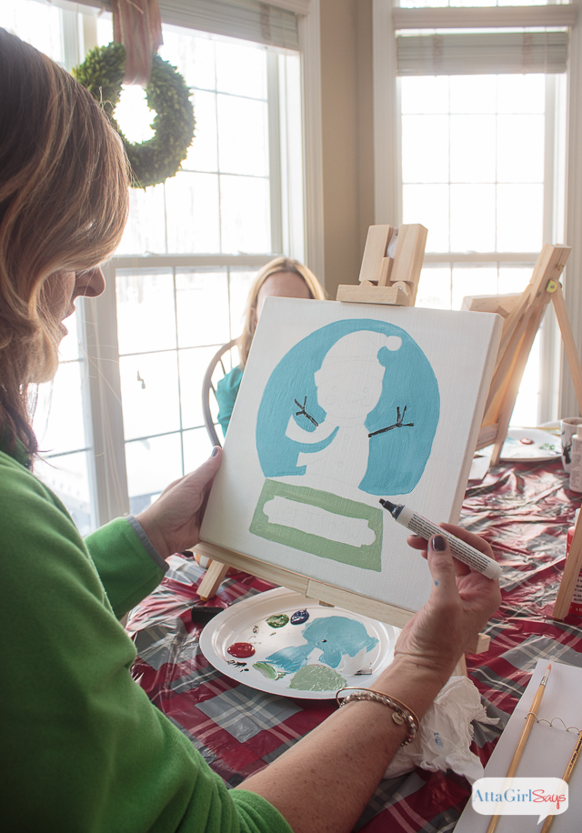 These snow day Social Artworking paint party ideas will make you wish for a blizzard! Kids and adults alike enjoy painting their own canvases. There are hundreds of designs to choose from, and no prior artistic experience is necessary. #sponsored #socialartworking #decoart