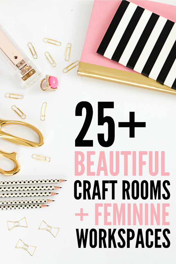 Click to take a virtual tour of 25 beautiful craft rooms and feminine work spaces. You'll be blown away by all the storage ideas, DIY and decorating ideas from professional crafters and your favorite bloggers.