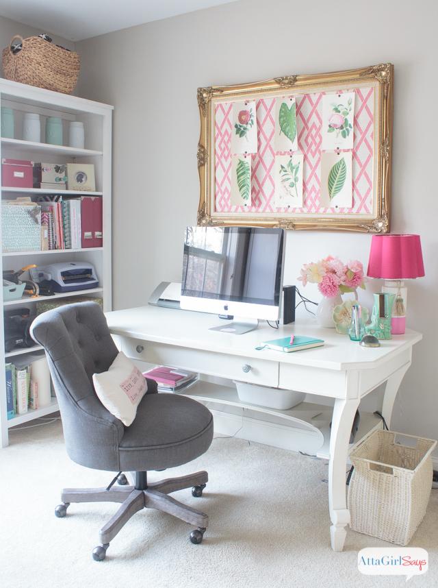 Feminine home office craft room tour atta girl says for Feminine home office