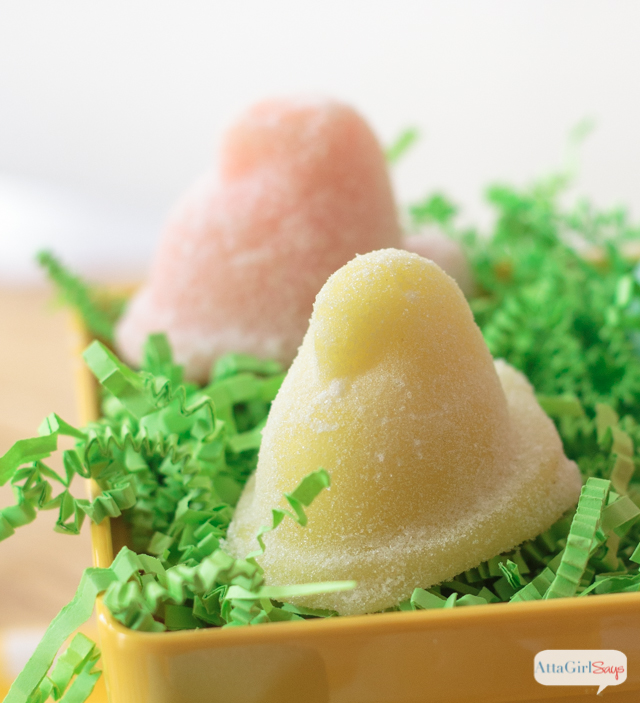 These Easter Peeps sugar body scrub soaps look good enough to eat. Add your favorite confectionery scents and pastel colors to make bathtime super sweet. And you can make a batch in less than 5 minutes! These would be great to include in a child's Easter basket. Just make sure they don't try to take a bite.