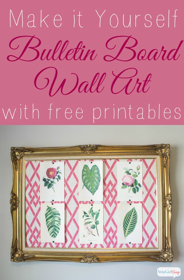 pink trellis fabric bulletin board in a gold frame with botanical prints