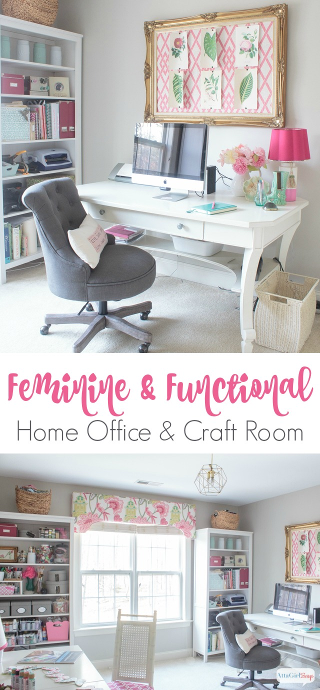 Craft office ideas Info Form Meets Function In This Gorgeous Space Combination Craft Room And Feminine Home Office Atta Girl Says Feminine Home Office Craft Room Tour Atta Girl Says