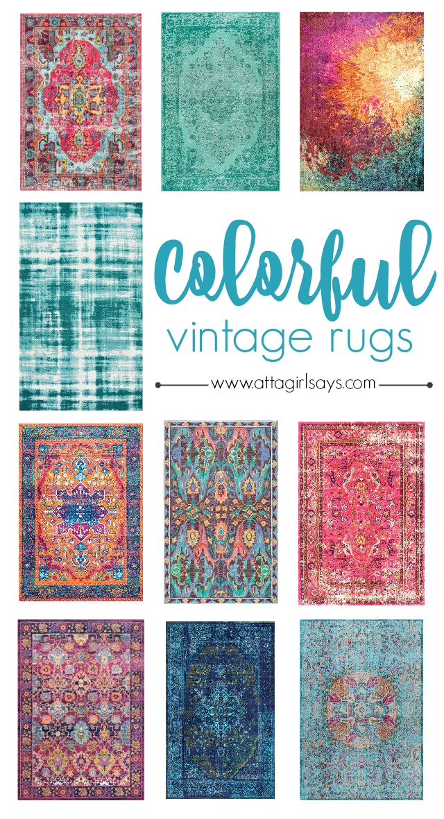 10 Boldly Colorful Vintage Area Rugs Atta Girl Says