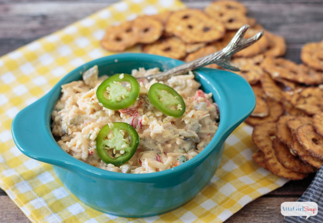 Made with three cheese, this gourmet pimento cheese spread is great on sandwiches. It also makes a great party spread. #SnackSnapShare #SnackStories #ad