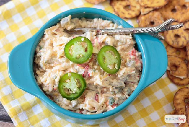 pimento cheese topped with jalapeno peppers