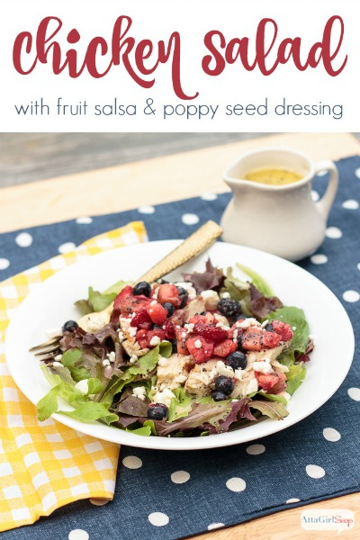 Grilled Chicken Salad with Fruit Salsa & Poppy Seed Dressing