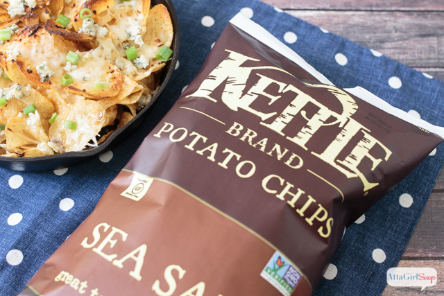 Kettle brand potato chips beside a skillet of honey and blue cheese kettle chips