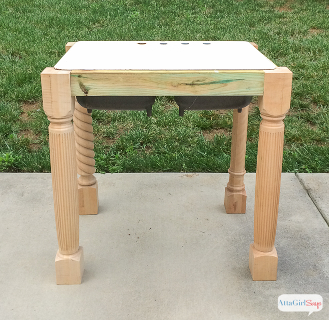 #ad Learn how to build a base for an outdoor cast iron farmhouse sink using salvaged materials and pressure-treated lumber. (To help with the muscle aches and pains I experienced after lifting that heavy cast iron sink, I use TYLENOL® 8 HR Muscle Aches & Pain.) #ForWhatMattersMost #CollectiveBias
