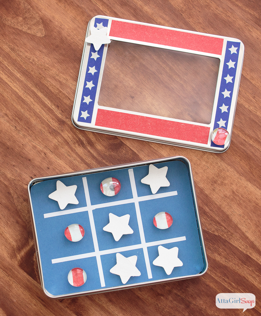 Magnetic Patriotic Tic Tac Toe Travel Game & more DIY Travel Games for Kids
