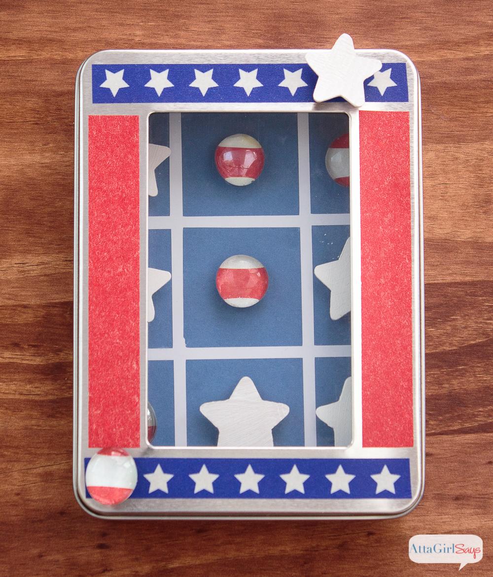 Magnetic Patriotic Tic Tac Toe Travel Game + More DIY Travel Games for Kids