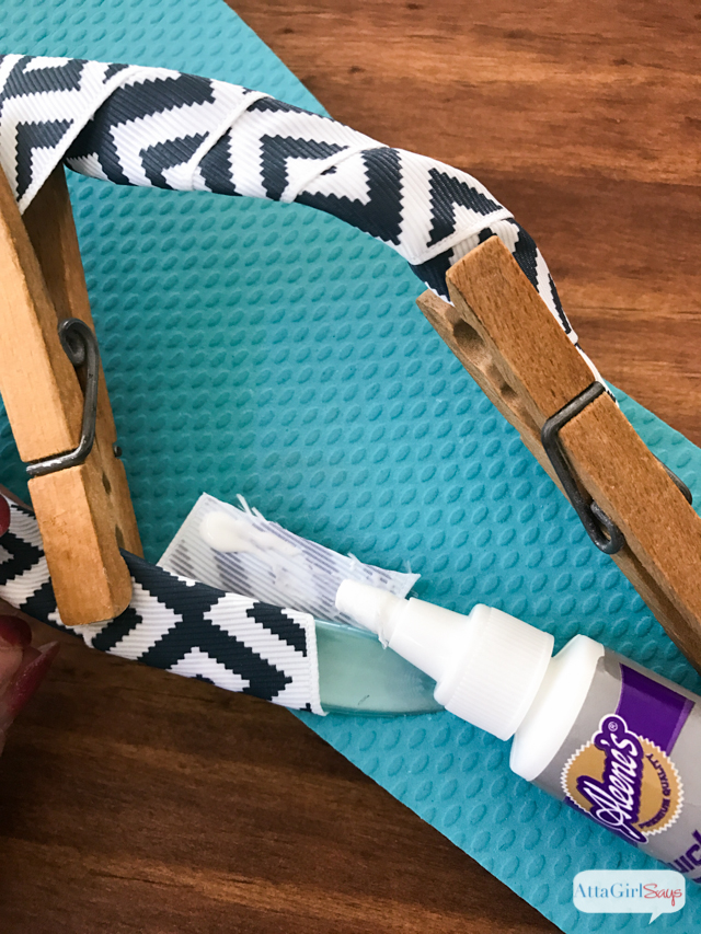 Continue working to the end of the second strap. Trim ribbon and secure to the inside of the shoe strap using quick-drying glue. Use a clothespin to hold it in place until the glue dries.