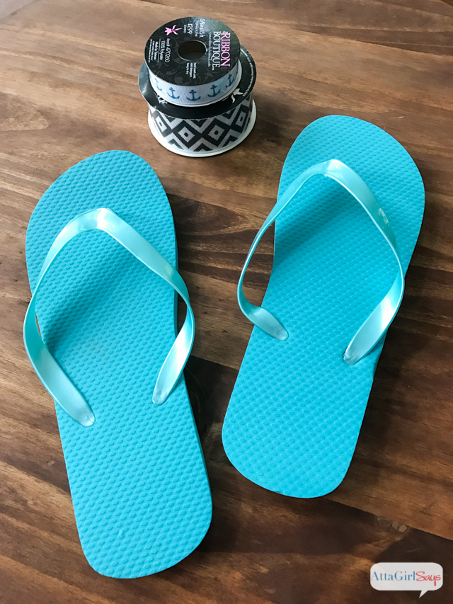 Learn how to dress up inexpensive flip flops with pretty ribbon. Make a pair of these DIY Bow Flip Flops to match your swimsuit or favorite summer dress,. Sponsored by Tervis