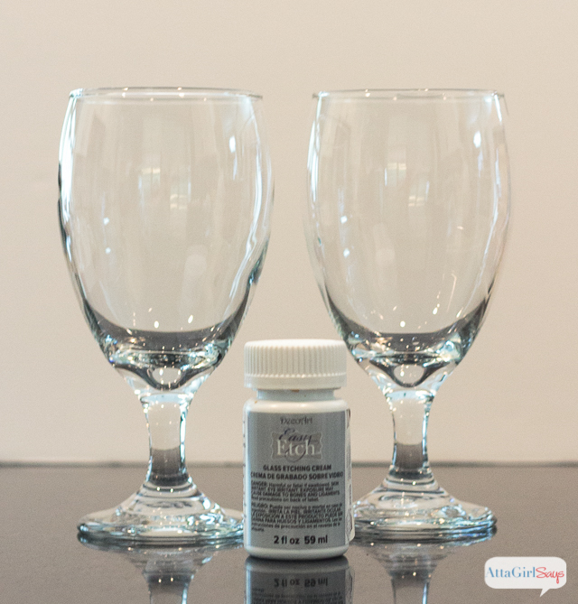 To make these pineapple drinking glasses, start with a pair of inexpensive glass water goblets and glass etching cream.