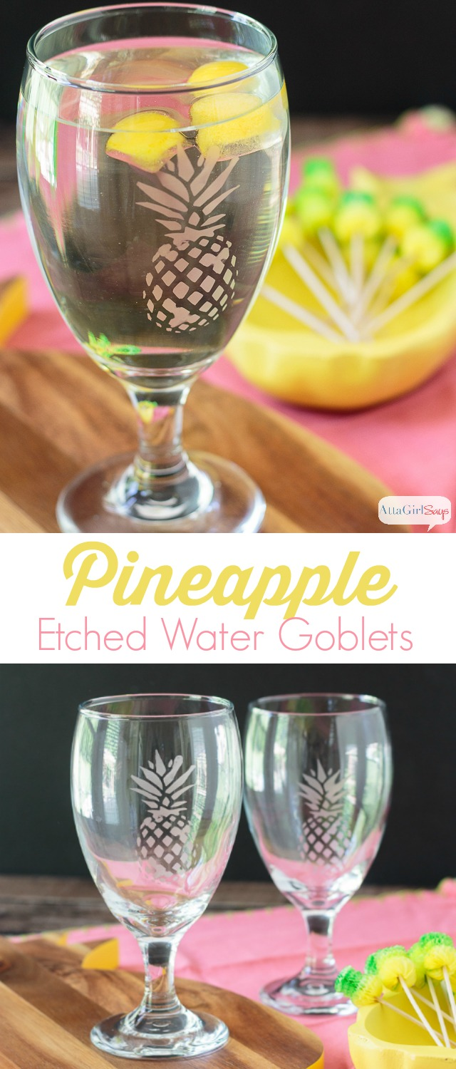 Elevate your summertime sipping with these easy-to-make etched pineapple drinking glasses. Get the free Silhouette cameo cut file so you can make your own.