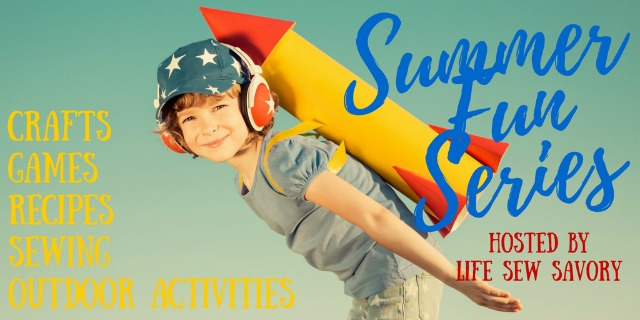 Summer illustration of a kid with a rocket strapped to his back with the caption Summer Fun Series.