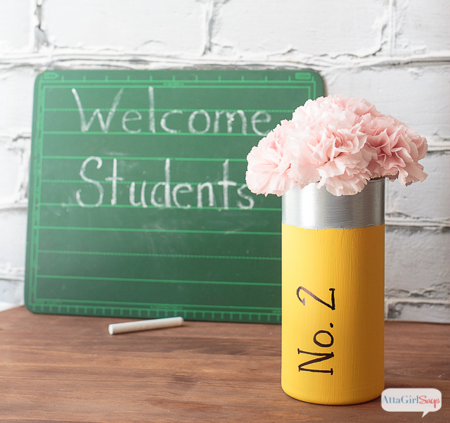 """Looking for inexpensive teacher appreciation gifts. Paint a glass vase to look like a No. 2 pencil, then add a cluster of carnations as the """"eraser."""""""