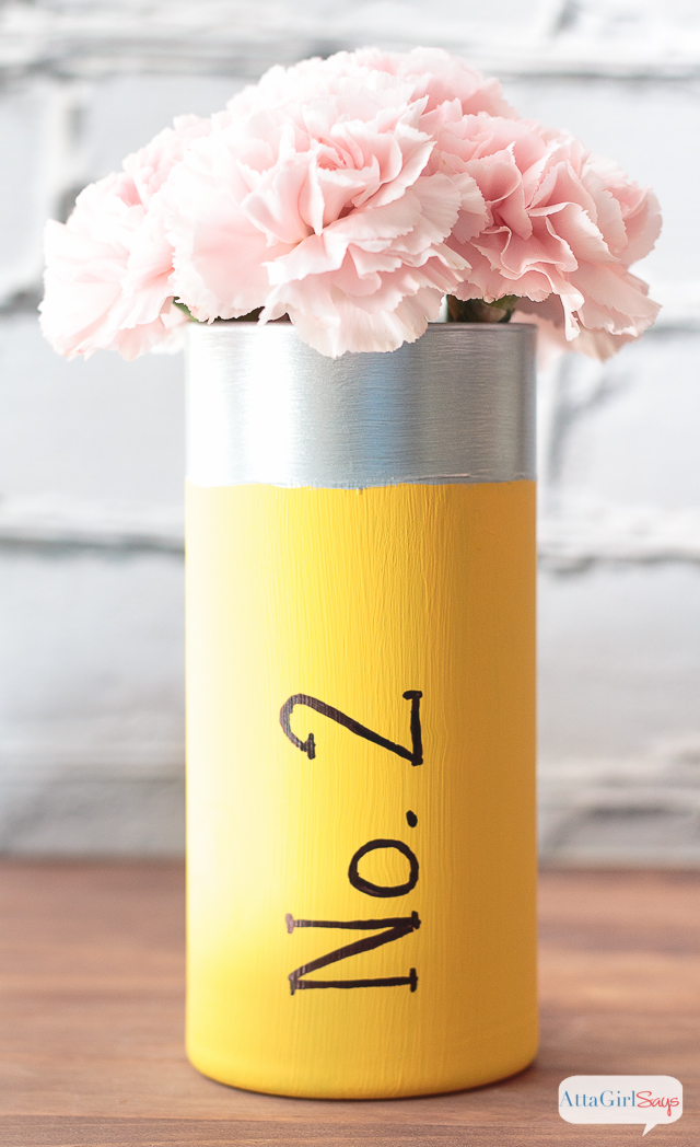 "Looking for inexpensive teacher appreciation gifts. Paint a glass vase to look like a No. 2 pencil, then add a cluster of carnations as the ""eraser."""