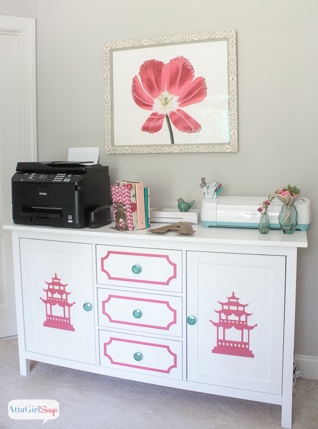 Transform a plain IKEA sideboard into beautiful chinoiserie furniture using O'verlays decorative panels. #sponsored