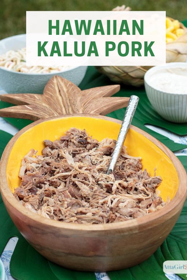 Kalua pork in a pineapple shaped bowl