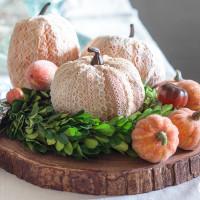 Decoupaged Lace Foam Pumpkins