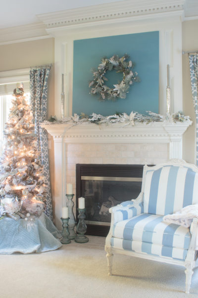 Blue & White Christmas Mantel Ideas