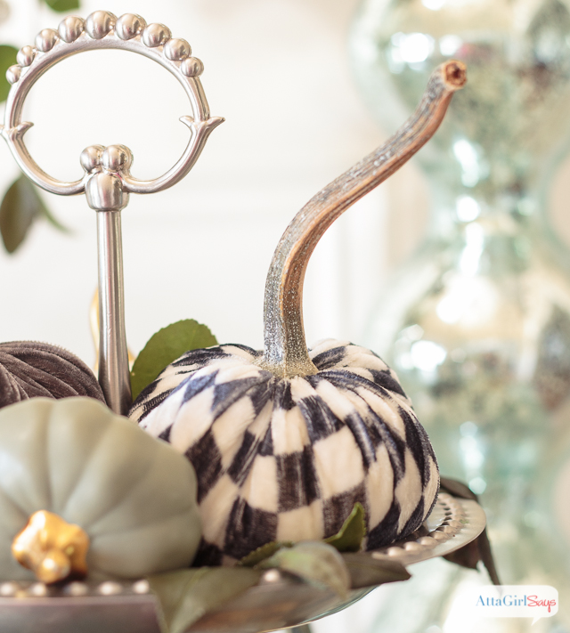Harlequin pattern velvet pumpkin on a silver tray. If you're a collector, you'll love this gorgeous fall home tour, featuring amazing vintage finds and lots of DIY fall decor ideas.