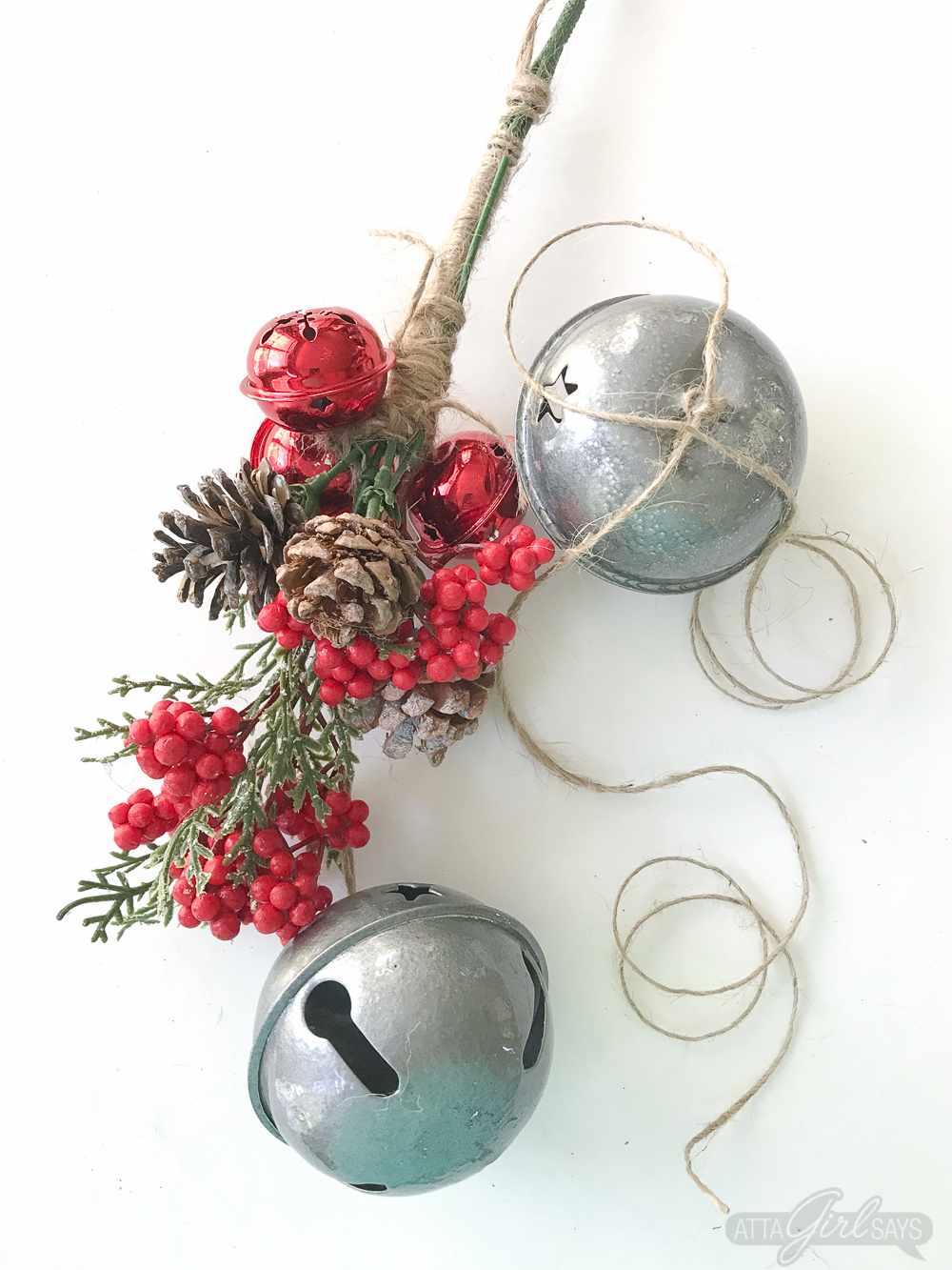 Vintage style jingle bell christmas swag atta girl says whip up a jingle bells christmas swag for your front door for just a few dollars rubansaba