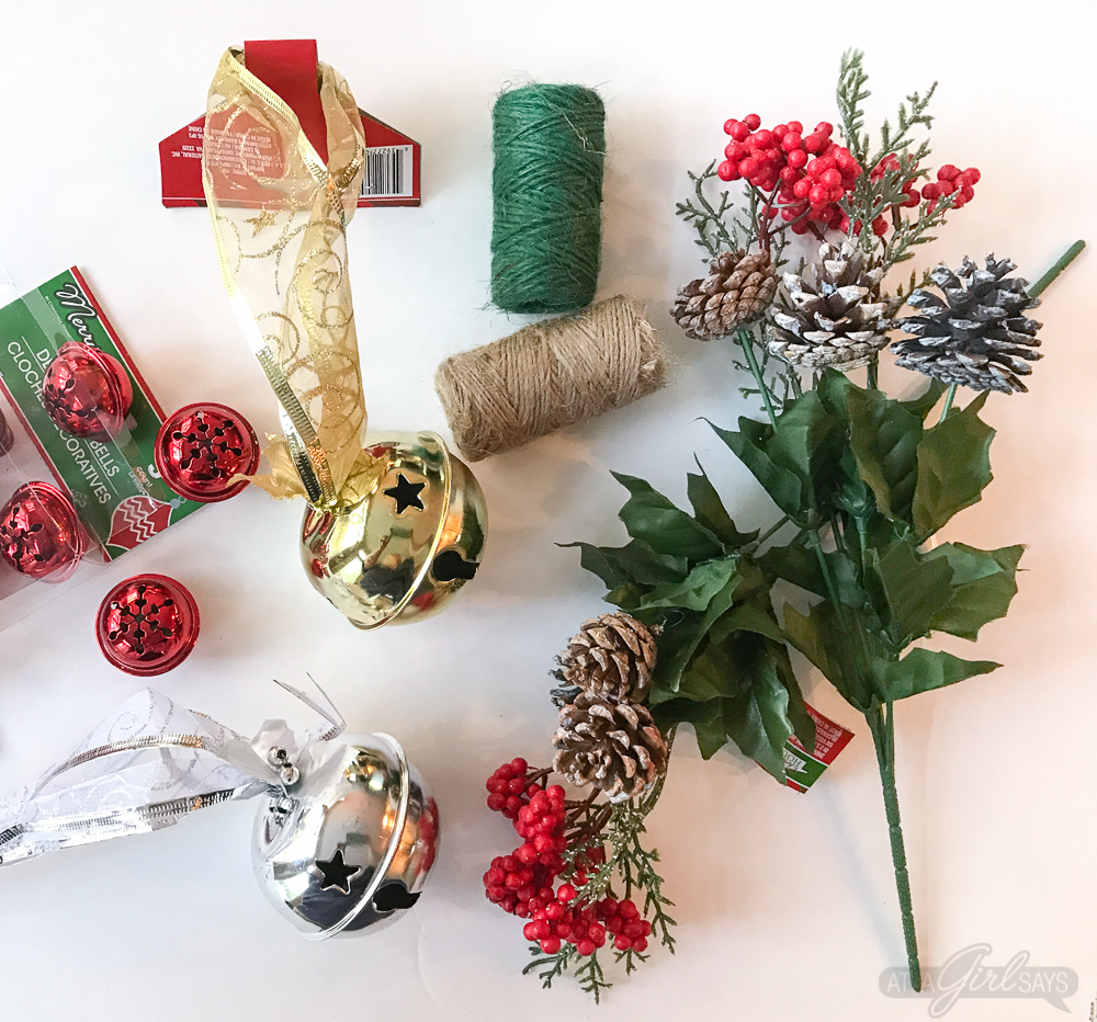 Whip up a jingle bells Christmas swag for your front door for just a few dollars using holiday decor and craft supplies from Dollar Tree. #ad #DollarTree