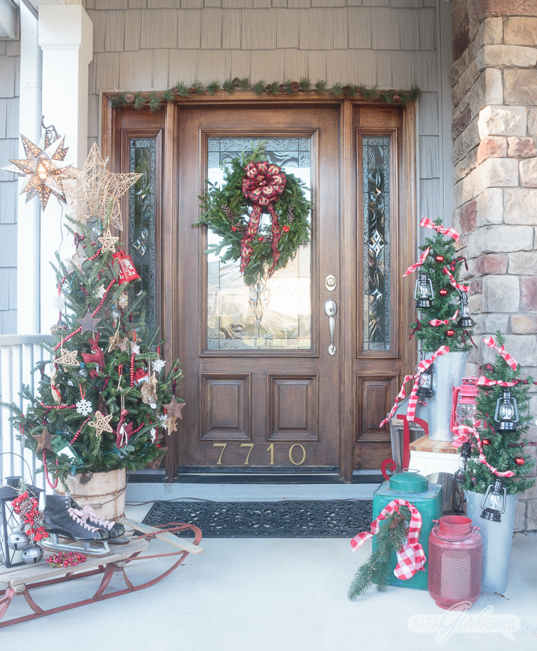 tour this beautiful southern front porch decorated in vintage style for christmas youll - Christmas Porch Decor