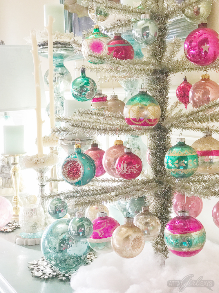 A gorgeous tinsel tree decorated with vintage Shiny-Brite Christmas ornaments. What an amazing Christmas home tour!