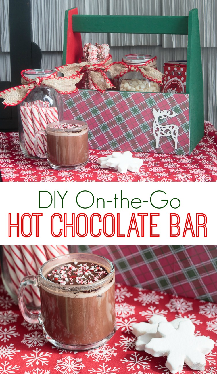 Take the party on the road with this portable caddy, filled with everything you need to set up a hot chocolate bar. Just add hot water and your favorite fixings!