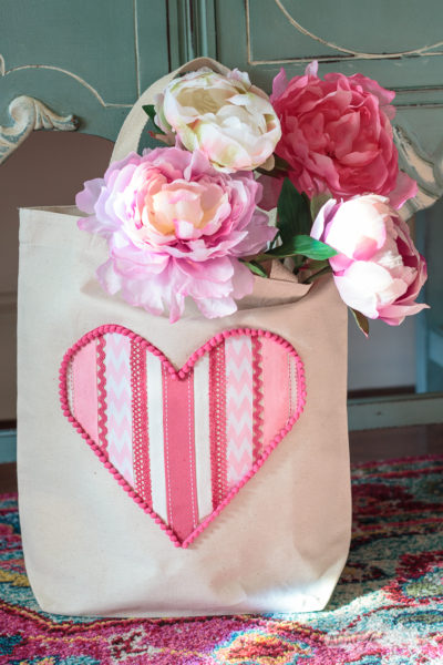 Cute Tote Bag DIY with Scrap Ribbon Heart