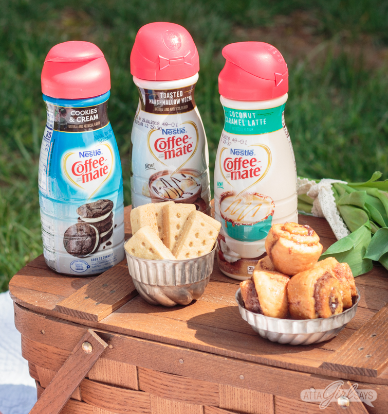 Enjoy the gorgeous weather this spring with a beautifully style coffee and dessert picnic, featuring your favorite sweet treats, brews and Coffee-mate® Dessert Creamers. #ad #picnic #coffeeanddessert #dessertpicnic #coffee