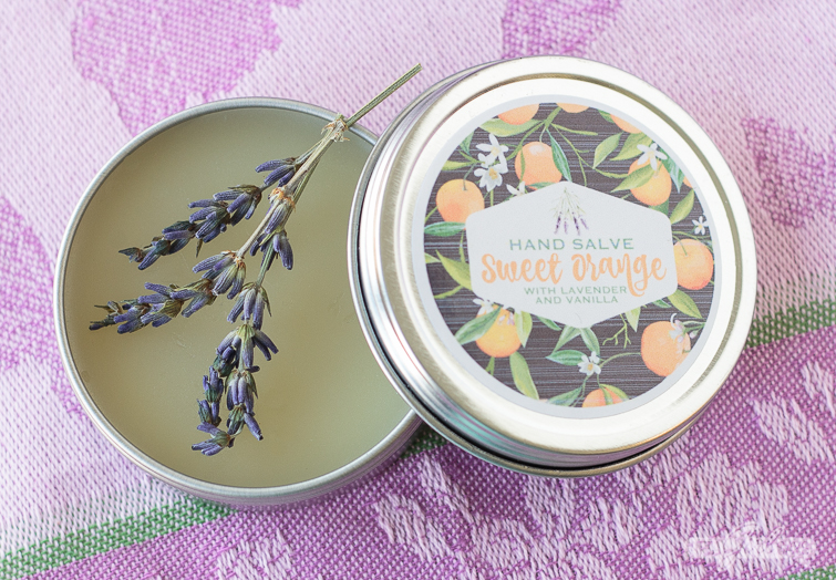 tin of lavender orange vanilla gardeners hand salve