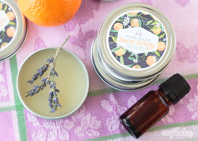 If your hands are dry and chapped from gardening, housework or being out in the elements, try this soothing homemade healing salve made with natural ingredients. It's scented with sweet orange and lavender essential oil, with a touch of vanilla. #diybeauty #essentialoils #lavender #sweetorange #gardening #naturalbeauty #dryskin #vanilla