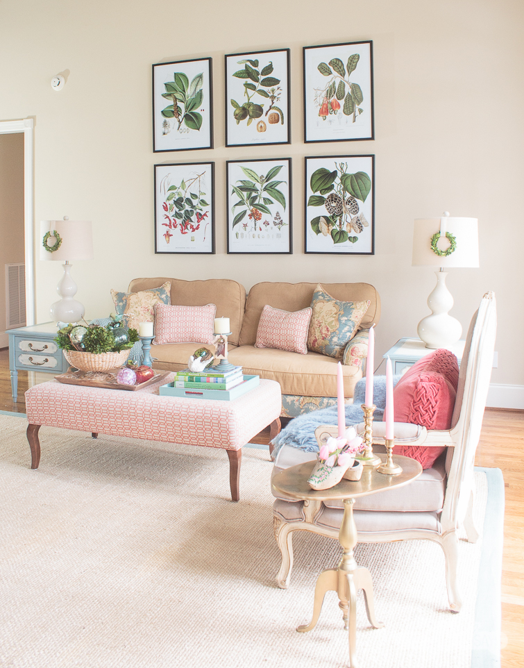 Your favorite bloggers are styled for spring. Start with this tour of my living room, filled with gorgeous flowers, pretty bird motifs and colorful, vintage touches for a new season. Then head over to my friends' houses for more spring home decorating ideas. #springdecorating #vintagedecor #hometour #springhometour #styledforspring