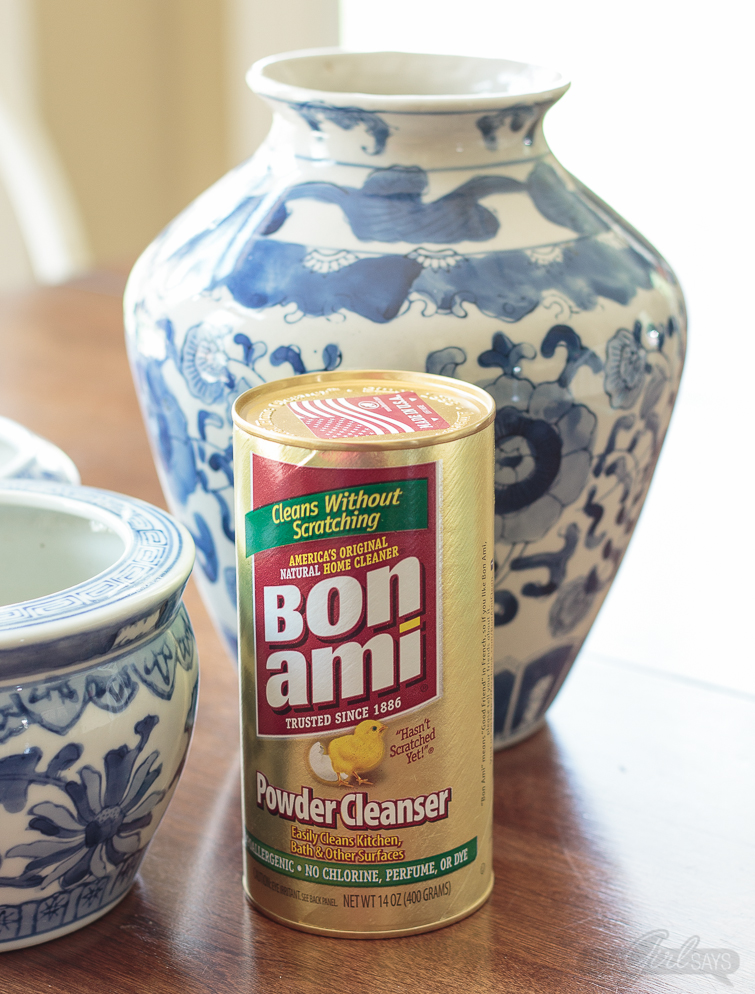 Don't pass up dirty, stained and scuffed ceramics or pottery at yard sales and thrift stores. Learn how to clean porcelain vases, flower pots, china and pottery, easily and gently, using Bon Ami all-purpose nontoxic cleanser. #ad #BonAmiClean