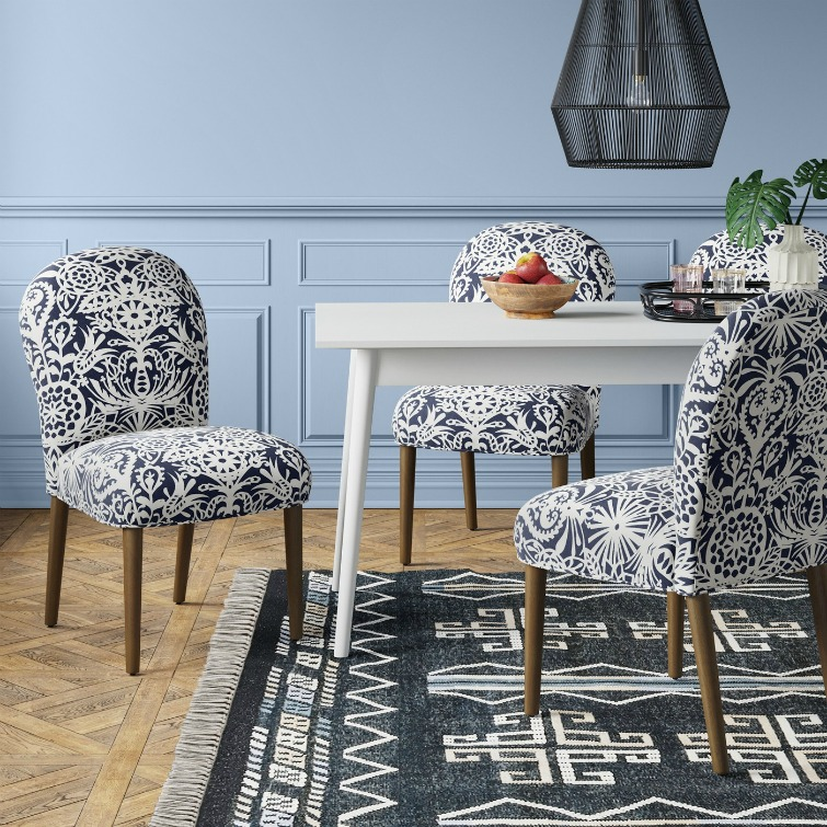 If you love vintage decor, hurry to Target to check out the new Opalhouse collection. These navy and white floral print upholstered dining chairs are among the fabulous vintage-style pieces you'll find at great prices! #opalhouse #targetstyle #vintagestyle #upholsteredchairs #blueandwhite #diningchairs